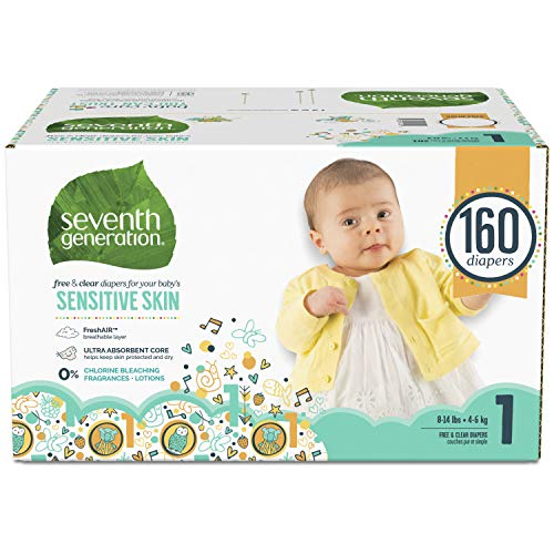 Seventh Generation Baby Diapers for Sensitive Skin, Animal Prints, Size 1, 160 count (Packaging May Vary) (7th Generation Size 1)