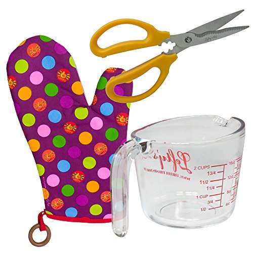 LEFT HANDED MEASURING CUP, KITCHEN SHEARS, AND OVEN MITT SET