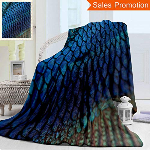 Unique Double Sides 3D Print Flannel Blanket Close Up On A Fish Skin Blue Siamese Fighting Fish Betta Splendens in Front of A White Ba Cozy Plush Supersoft Blankets for Couch Bed, Twin Size 60