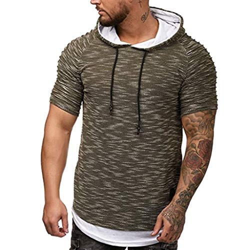FORUU T Shirts For Mens, Hooded Hoodies Fake 2PCS Two Pieces Splice Casual Gradient Lapel Short Sleeve Tops 2019 On Sale Office Elegant Summer Best Gift For Wife Business Work Casual Sexy