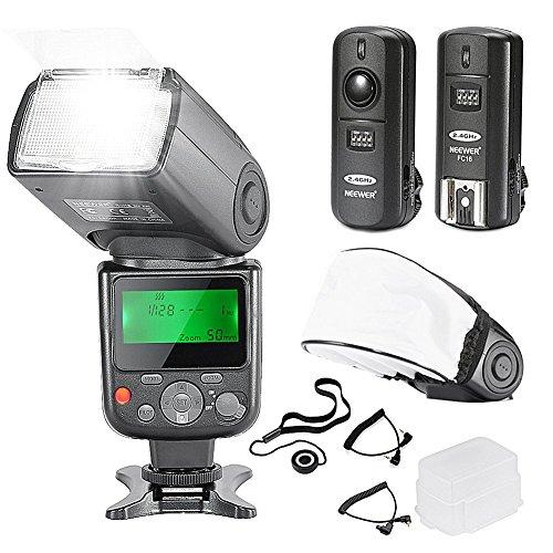Neewer® PRO NW670 E-TTL Flash Blitz Blitzgerät Set für Canon EOS 700D 650D 600D 1100D 550D 500D 450D 400D 100D 300D 60D 70D DSLR-Kameras, Rebel T3 T5i T4i T3i T2i T1i XSi XTi SL1, Canon EOS M Kompaktkameras - Kamera- beinhaltet: Neewer Auto-Fokus Blitz mit LCD-Bildschirm + 2,4 GHz Wireless-Auslöser + 2 Kabel (C1-C3 + Kabel-Kabel-Kabel) + Hart & Weich Blitz-Diffusor + Objektivdeckelhalter