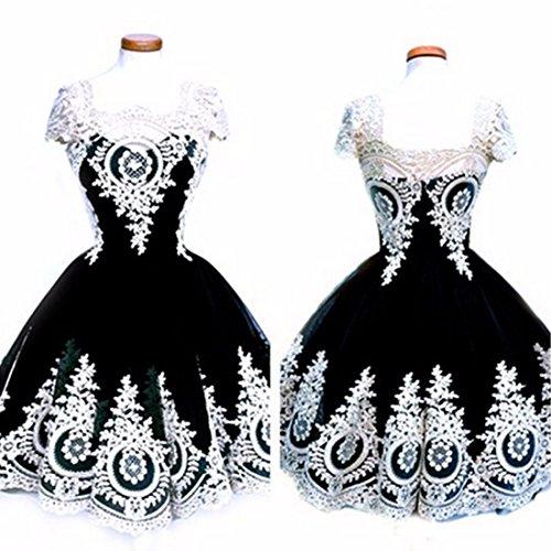 mujer Vestido de para Dama Vestido de corta honor Negro Vestidos encaje Bouffant sexy Manga Evider qIfIrF