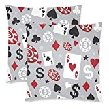2 Pack Cotton Linen Pillow Covers Cases Custom Colorful Poker Home Decor Square Throw Pillow Covers Cushion Cover for Couch 20x20inch