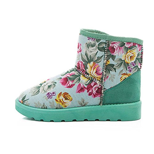 Womens Boots,Clode® Fashion Fashion Women Boots Flower Pattern Flat Ankle Fur Lined Winter Warm Snow Booties Slipper Green