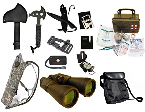 Survival Camping Hiking 20X70 Binoculars Green,Emergency First Aid Kit, Sharpener, Axe, Fire Blade, Whistle Flint Striker Belt Buckle, ACU Hydration Backpack, Multi Tool, Compass, Signal Mirror by Ultimate Arms Gear