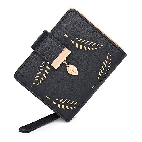 Women's Long short Leather Money Clip Card Case Holder Purse Zipper Buckle Elegant Clutch Wallet(pair) (Black Small) - Leather Womens Money Clip