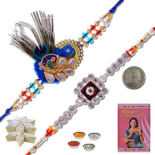Little India DR312KK Multi-Color Set of 2 Silk Designer Rakhi And 400 GMS Kaju - Usa Online Cards Gift
