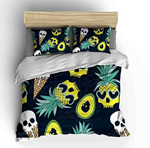 SHOMPE Pineapple Skull Bedding Sets Full Size Kids,3 Piece Cute Mango Summer Fruit Icecream Duvet Cover Sets with 2 Pillowcases for Teens Boys Girls,NO Comforter