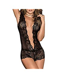 AOZORA Lace Deep V One Piece Sexy Perspective Transparent Temptation Sexy Lingerie Open Back Sexy Set
