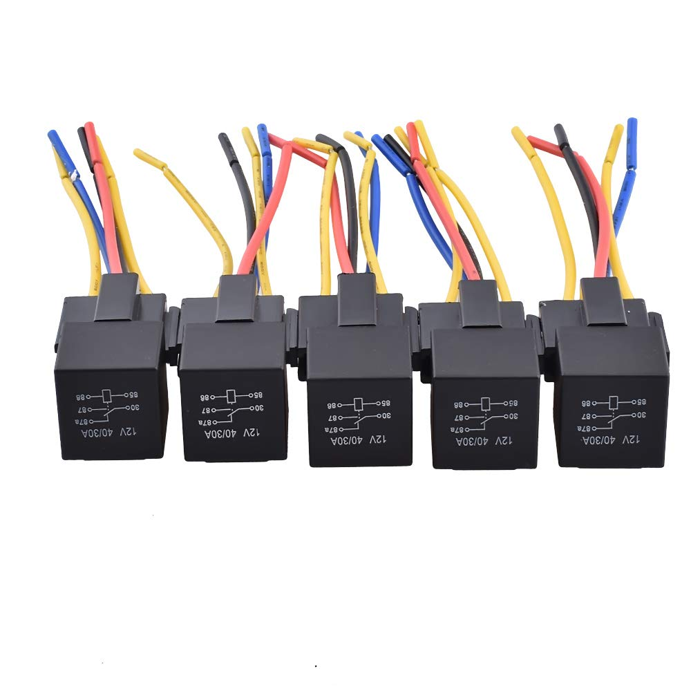Relay 12V 5-Prong Harness Socket, 30/40 Amp 5pin SPDT Automotive Relay (5 PACK) YOMNEE