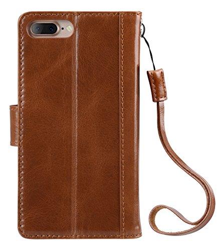 Apple Iphone 7 Melkco premium italiana caja del cuero genuino del estilo de Kingston mano hecha a mano con buena protección, de primera calidad Feel-Brown Cera Marrón Cera 7