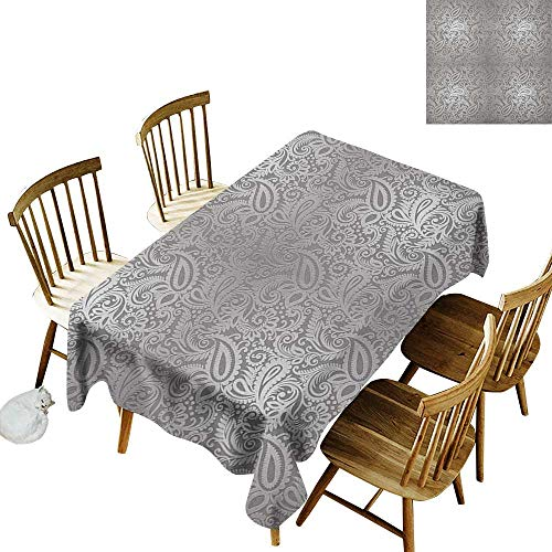 kangkaishi Easy to Care for Leakproof and Durable Long tablecloths Outdoor Picnic Traditional Paisley Pattern Old Fashioned Royal Floral Ornamental Tile Design W14 x L108 Inch Dimgray Grey