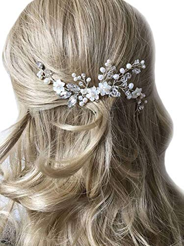 Unicra Silver Wedding Flower Hair Combs Bridal...