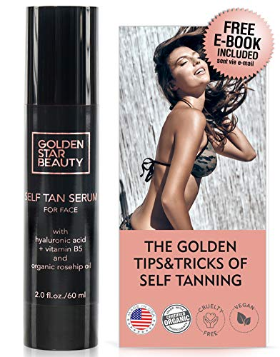 Self Tanner For Face - Anti Aging Sunless Tanning Serum w/Hy