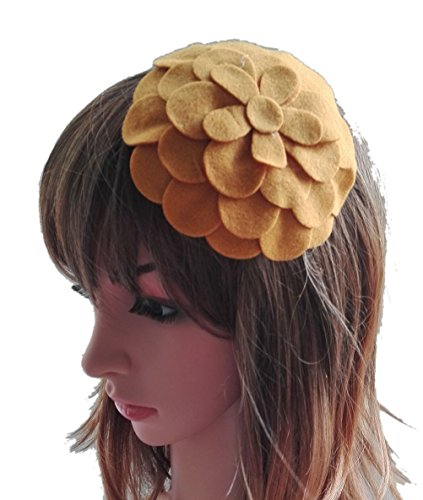 [Fascinator Hair Clip Head Hoop Flower Pillbox Wool Hat Cocktail Party Wedding Yellow] (1920s Flapper Hairstyles)