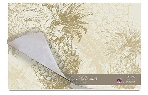 Cala Home 24-Pack Disposable Paper Placemats, Williamsburg Gracious Pineapple