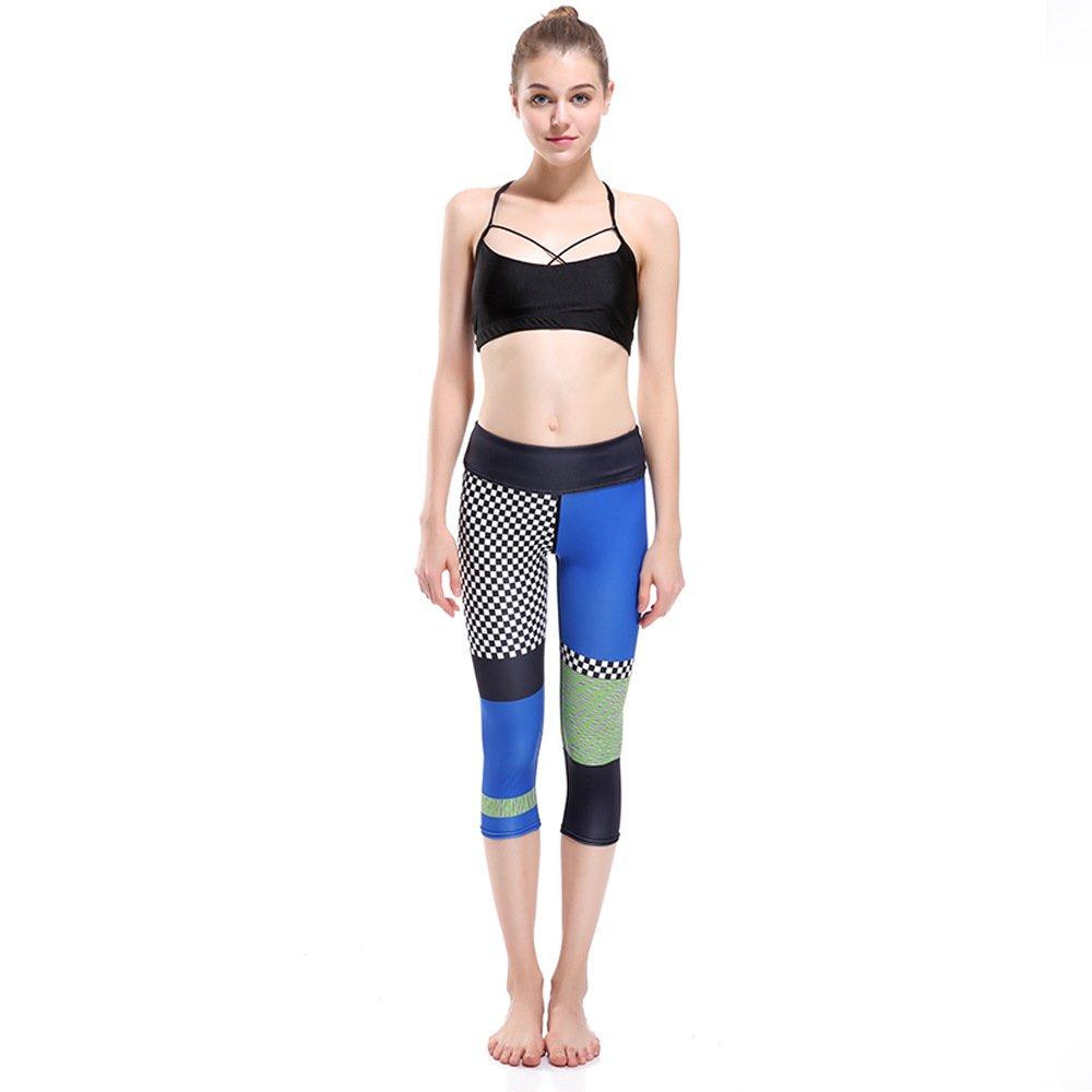 GYXYYF Frauen Yoga Hosen Farbe Plaid Print Atmungsaktiv Und Schnell Trocknend Cropped Yoga Pants
