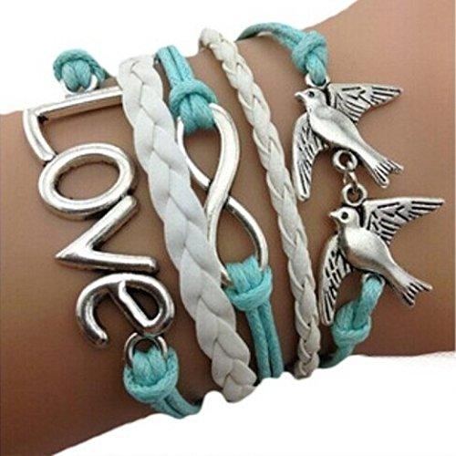 Bestpriceam Handmade Adjustable Multilayer Bracelet Wristband, Love Anchor Pigeon