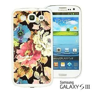 OnlineBestDigitalTM - Flower Pattern Hardback Case for Samsung Galaxy S3 III I9300 - Flower in Black Background WANGJING JINDA
