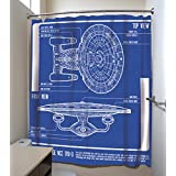 "Star Trek: The Next Generation Enterprise Blueprint Shower Curtain 71x71"""
