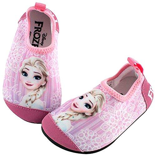 Joah Store Frozen Elsa Girls Kids Water Shoes Barefoot Aqua Socks Pink Shoes Quick Dry Runs Small (11 M US Little Kid, Frozen Elsa_B)