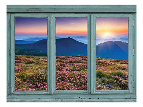 wall26 - A View of a Setting Sun Across The top of a Mountain Range with Heather Fields in Bloom - Wall Mural, Removable Sticker, Home Decor - 24x32 inches (Mountain Heather)