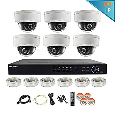 LaView 8 Channel Full HD 1080P Business and Home Security Camera System 6x PoE Weatherproof Dome IP Cameras with HD 2TB Surveillance NVR