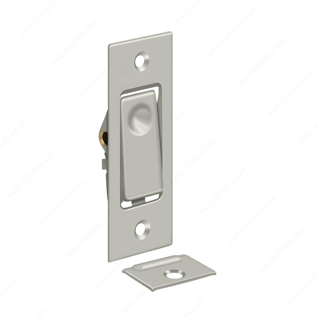 3-1/16'' Solid Brass Pocket Door Jamb Bolt Deadbolt Lock Builders Hardware (Brushed Nickel)