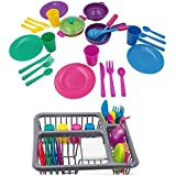 Pretend Play Kitchen Set for Kids, Kitchen Toys Tableware Dishes Playset with Drainer (27 Pcs )