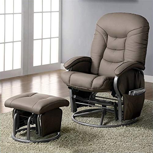 BOWERY HILL Faux Leather Glider and Ottoman in Beige and Gray by BOWERY HILL