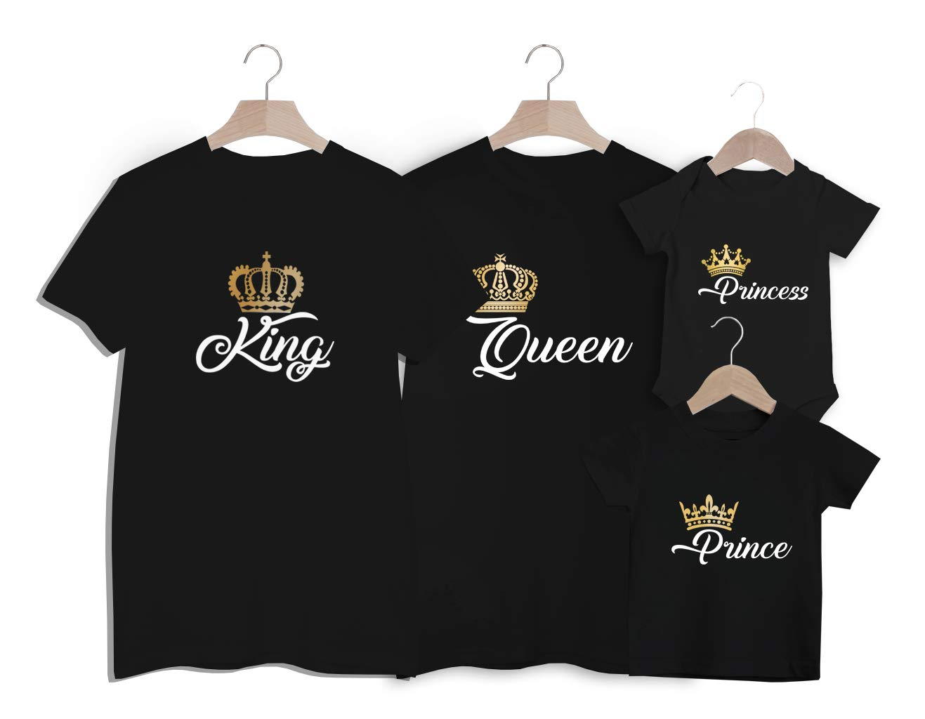 ROYAL family king queen prince princess babygrow and adult t-shirts organic cotton gift for family newborn