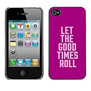 Planetar® ( Purple Pink Party College Text Spring Break ) Apple iPhone 4 / iPhone 4S / 4S Fundas Cover Cubre Hard Case Cover