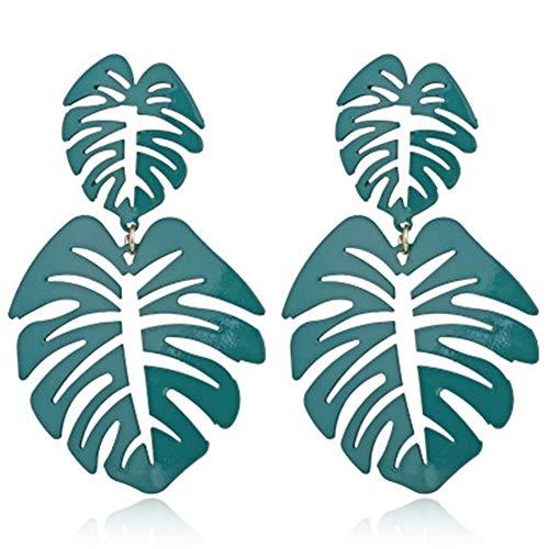 Hollow Coconut Palm Leaf Earrings Dangle Boho Double Tree Leaf Feather Long Drop Earrings for Women Girls Jewelry Decor(Green)