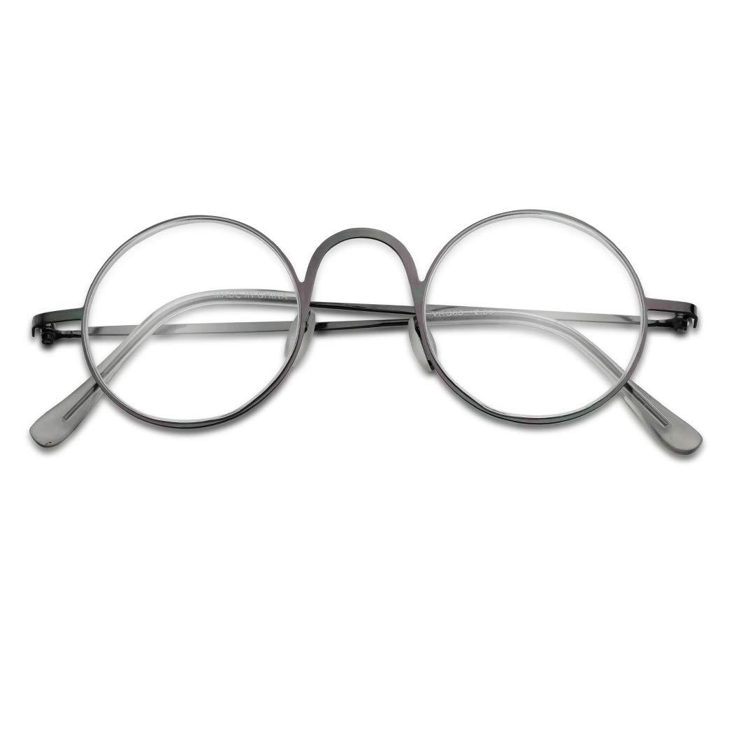 052153d0a6 vintage round 45mm classic unisex rx optical prescription reading glasses  positive strength +1.00 - +3.50 (gun metal