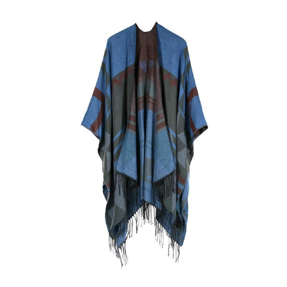 Excellent Women's Fall Winter Scarf Cloak Tassel Cape Mantle Scarf Quick Mild Kerchief Wrap Shawl Scarves (Color : Blue, Size : 51.1 x 59.06 Inch') by Excellent