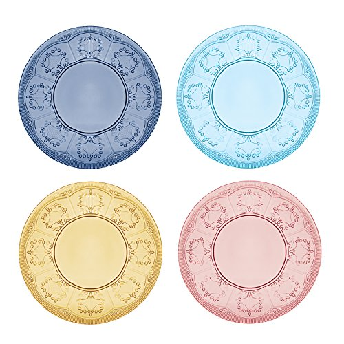 Trestle GlasssCollection, Assorted Accent Plates (Set of 4), Multicolor