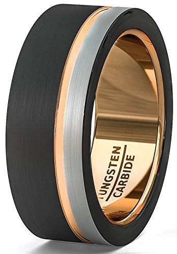 Duke Collections Mens Wedding Band 8mm Black White Brushed Tungsten Ring Thin Side Rose Gold Groove Flat Edge Comfort Fit