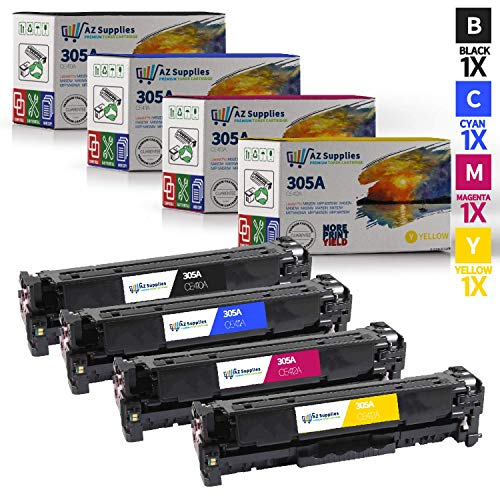 AZ SUPPLIES 4-Pack Toner | 35% more print yield | Replacement for HP 305A compatible with HP Laserjet M351A, Pro 300 M351a, Pro 300 M375nw, Pro 400 M451dn, M451dw, M451nw, M475dn, M475dw