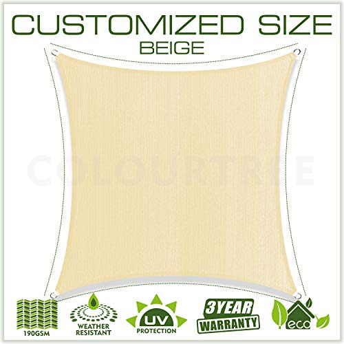 ColourTree 12 x 12 Beige Sun Shade Sail Canopy Square UV Resistant Heavy Duty We Make Custom Size