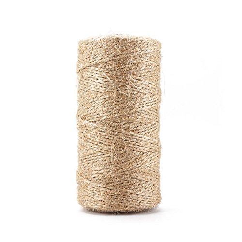 Segarty 2Ply Natural Jute Twine, Best Arts Crafts Gift Twine Christmas Twine Industrial Packing Materials Durable String for Gardening Applications, DIY Crafts and Festive Decoration, 1 Pc x 328 (Super Twine)