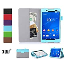 [Corner Protection] Sony Xperia Z3 Compact Tablet Case Cover,FYY Classic Slim Fit Folio Leather Case for Sony Xperia Z3 Compact Tablet (With Auto Wake/Sleep Feature) Cyan