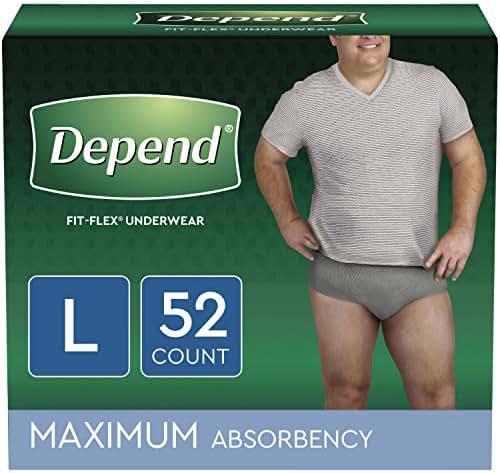 Depend FIT-FLEX Incontinence Disposable Underwear for Men, Large, 52 Count