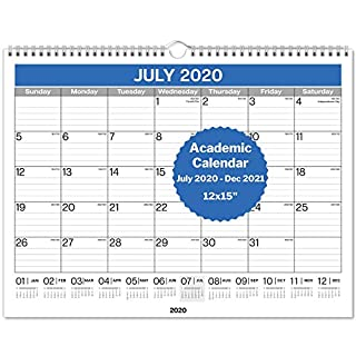 "Dunwell Wall Calendar 2020-2021 12x15"" - Use Now to December 2021, Hanging Monthly Calendar for Planning and Organizing Home or Office, for School Year and 2021 Calendar"