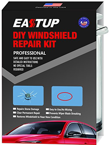 (EASTUP Windshield Repair Kit Fix Chipped Windscreen Glass for 1-2 Chips, Repair Stone Damage Such as Bulls-Eye, Break, Star,Half Moon, Combination etc, Easy to Use, No Professional Skills Required ...)