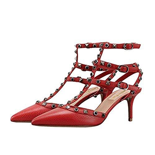 Zehe Formelle Caitlin Schwarz Damenmode Pumps Stein Spitze Verzierte Party Pan Rot Stiletto Hohe Nieten Knöchelriemen Kleid Muster Ferse Sandalen 4zXwFBzq