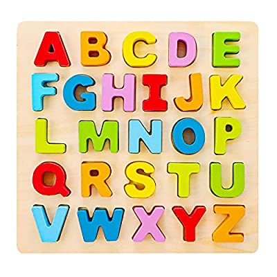 Babe Rock Alphabet Puzzle Wooden ABC Letter Puzzle for Toddlers Preschool Learning Early Educational Toys for Baby Girls Boys 1 2 3 Years Old (Capital Letter): Toys & Games