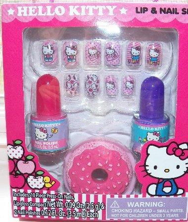 Sanrio 13pc Set/lot Hello Kitty Press-on Nails+polish+lipgloss Compact
