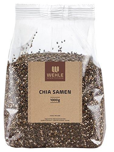 Chia Samen 1 kg in Deutschland geprüfte Qualität │ Beutel Chiasamen ohne Zusätze (Salvia hispanica) │ 1000g Chia Seed liefert Proteine Omega 3 und Ballaststoffe │ Vegan, Glutenfrei, Rohkost