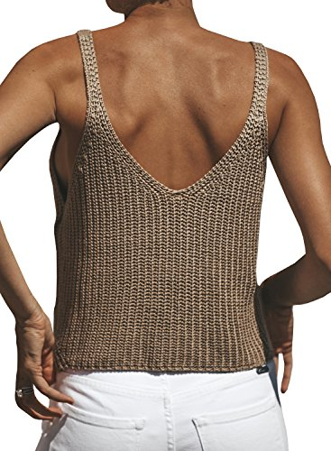 Ivay Women's Sleeveless Sweater Crop Top Solid Spaghetti Strap Knitted Tank by Ivay (Image #1)