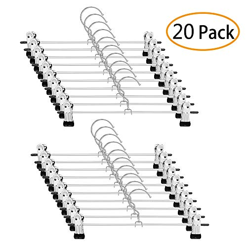 moopok 20 Pack Pants Hangers Skirt Hangers with Clips Metal Trouser Clip Hangers for Space Saving, Ultra Thin Rust Resistant Hangers for Skirts, Pants, Slacks, Jeans, and More